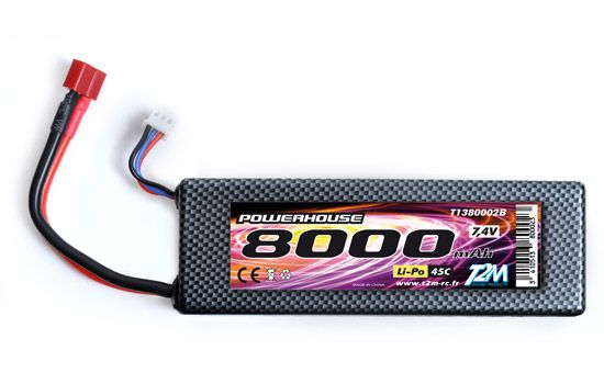 PACK 7.4v LiPo 8000 mAh  45C HARD CASE